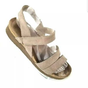 NAOT BEIGE GRAY NUDE BROWN STRAPPY SANDALS